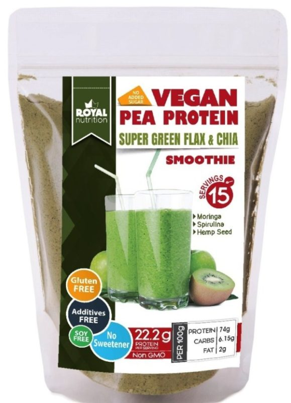 SUPER GREEN PEA PROTEIN SMOOTHIE – with Flax & Chia Seeds