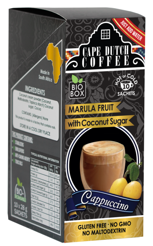 Cape Dutch Coffee Instant Cappuccino Marula Fruit (Coconut Sugar)