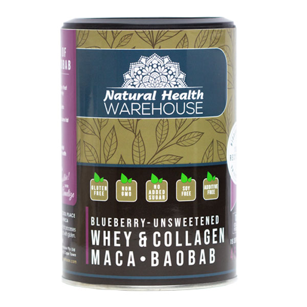 Natural Health Whey & Collagen Protein – Blueberry, Maca, Baobab 450g