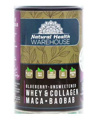 Natural Health Whey & Collagen Protein – Blueberry, Maca, Baobab 450g