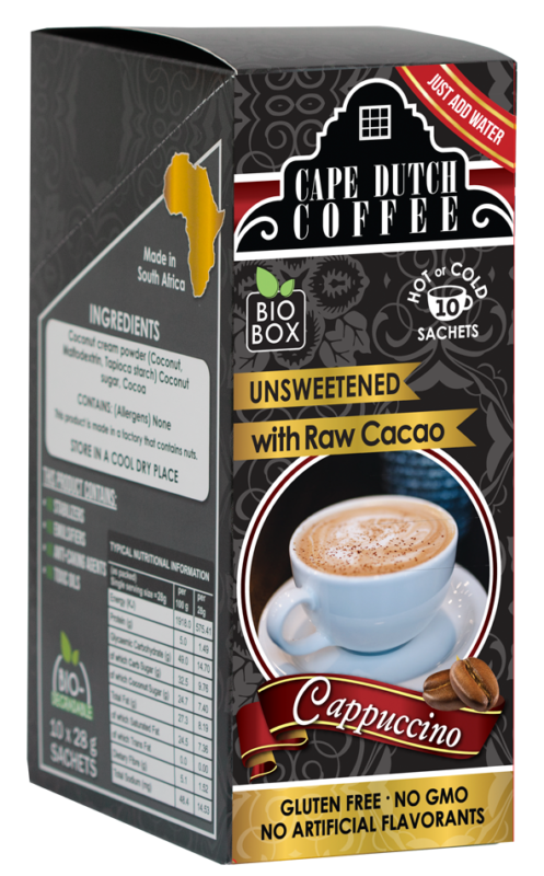 Cape Dutch Coffee Instant Cappuccino Raw Cacao Unsweetend